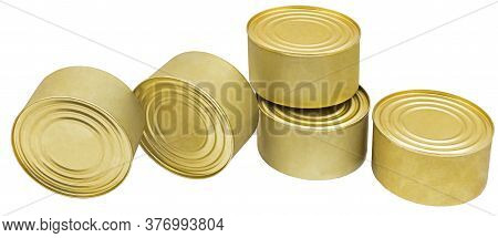 The Closed Tins Isolated On White Background