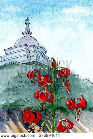 Wild Siberian Lilies On Ogoy Island On Baikal Lake Against The Backdrop Of A Buddhist Stupa , Waterc