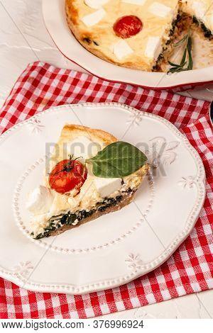 Greek Pie Spanakopita With Spinach And Cheese. Homemade Spinach French Pie Quiche Lorraine.