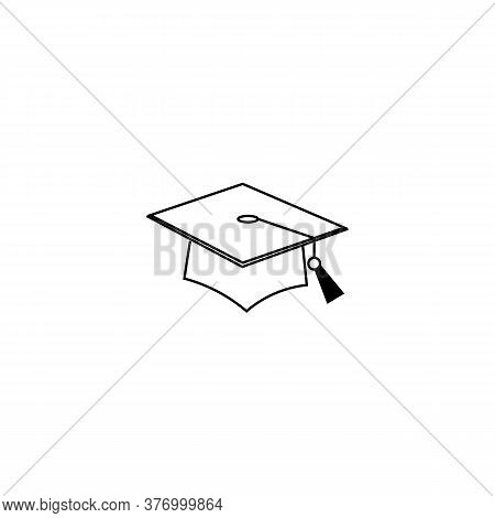 Academic Square Hat Black Sign Icon. Vector Illustration Eps 10