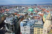 Vienna Austria - aerial view of the Old Town a UNESCO World Heritage Site. poster