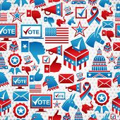 USA elections icon set seamless pattern background. Vector file layered for easy manipulation and custom coloring. poster