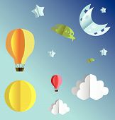 3d paper flying objects - balloons, UFO, clouds, sun, moon and stars poster