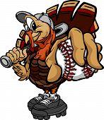 Cartoon Vector Image of a Thanksgiving Holiday Baseball or Softball Turkey Holding a Baseball Ball and a Bat poster