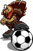 Cartoon Vector Image of a Thanksgiving Holiday Soccer Turkey with Foot on a Soccer Ball poster