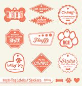 Collection of retro style dog name tag labels and stickers poster