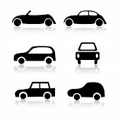 Set of 6 car icon variations on white background poster