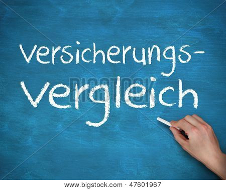 Hand writing german words versicherungs and vergleich on a blue board