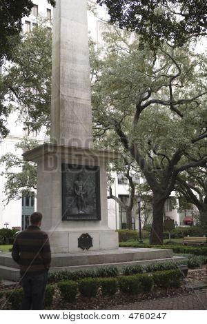 Man Looking At Nathanial Greene Memorial