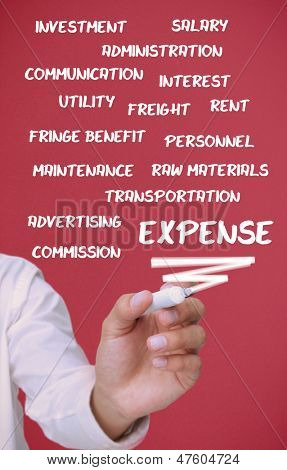Businessman writing expense terms on red background