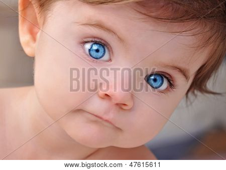 Cute Little Baby Blue Eyes Closeup Portrait