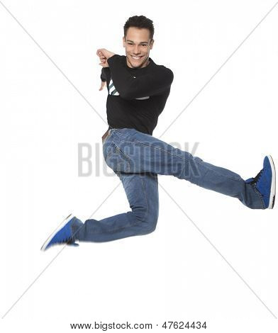 Excited Man Jumping In Air On White Background
