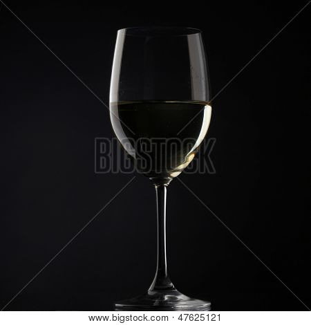 white wine glass silhouette white background