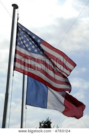 Flags Of France And Unites States