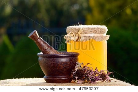 Honey And Wooden Pestle