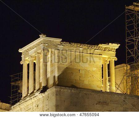 Athena Nike temple illuminated, Athens Greece