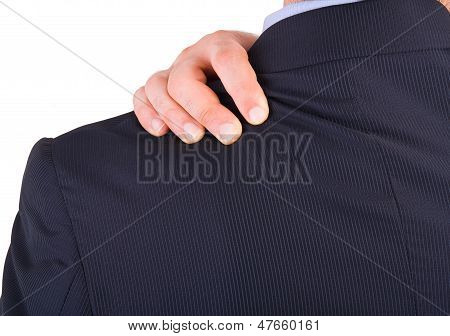 Close up of Businessman suffering from shoulder pain. poster