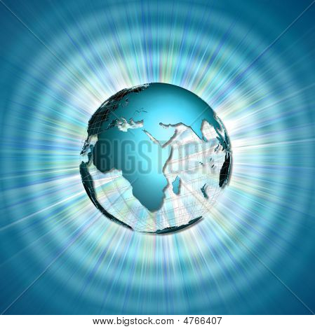abstract illustration with world globe over lights and rays poster