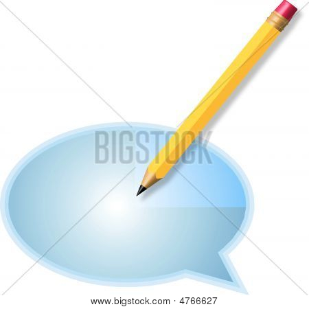 Pencil And Word Balloon On White Background