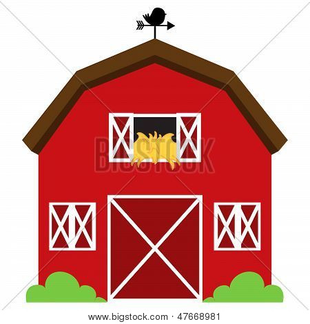 Cute Red Vector Barn with Hay, Weather Vane and Bushes poster
