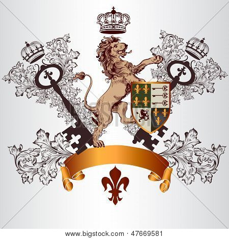 Heraldic Design With Coat Of Arms, Lion And Shield In Vintage Style