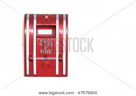 Wall Mounted Fire Alarm Isolated On White Background, Closeup
