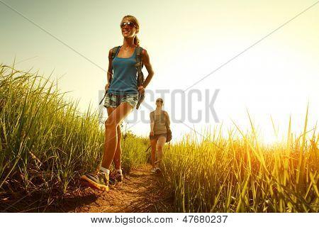Two ladies hikers walking through green lush meadow