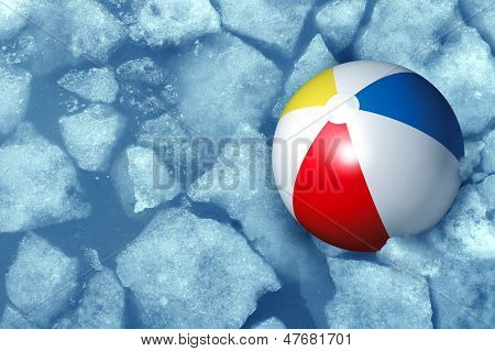 Cold summer weather concept with a plastic inflatabe beach ball stuck in frozen ice in a freezing pool as a symbol of leisure activity problems caused by colder temperatures during vacations and family holidays. poster