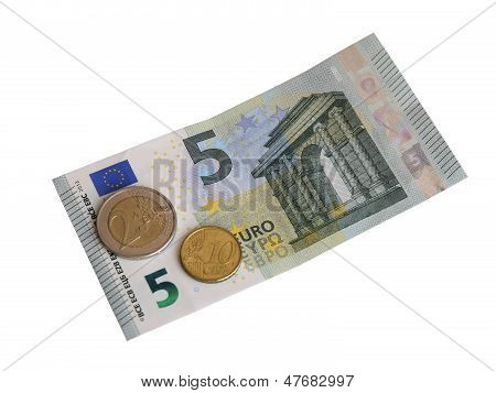Coins and a new bill in 5 euros.