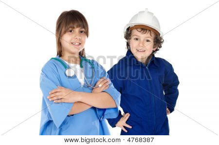 Future Workers Isolated Over White.