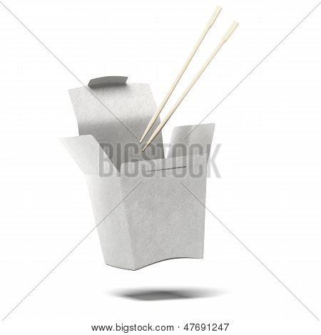 Chinese To-Go Box and Chopsticks