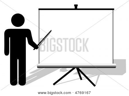 Symbol Person Points To Big White Copyspace On Presentation Screen