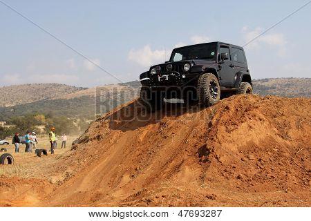 Black Jeep Wrangler  On 4X4 Course