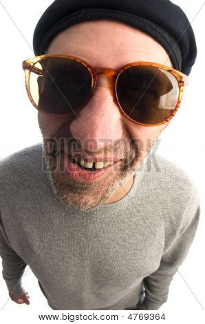 Aging Artist  Distorted Nose Close Up Beret Hat Smiling Happy