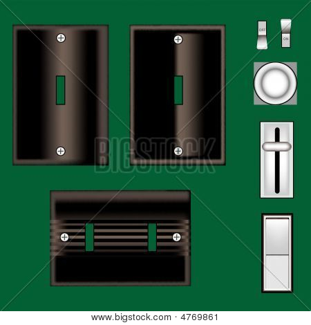 Light Switches And Faceplates - Black