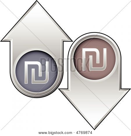 Israeli Shekel Currency Icon On Up And Down Arrow Buttons