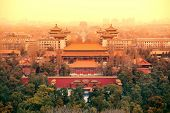 Aerial view of Beijing with historical architecture, China. poster