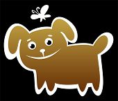 Cartoon happy dog isolated on a black background. poster