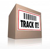 The words Track It with barcode on a package shipment label to trace the shipment of a cardboard box shipped in the mail or by courier poster