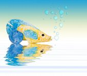 Summer Holidays - fish and blue pebble with ocean reflections and water bubbles poster