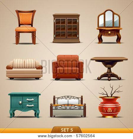 Furniture icons-set 5. Vector illustration on background poster