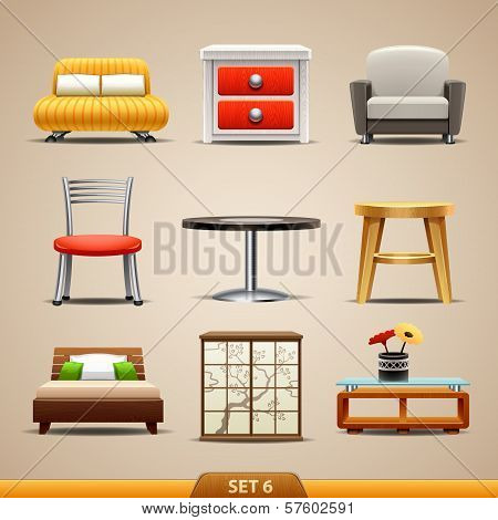 Furniture icons-set 6. Vector illustration on background poster