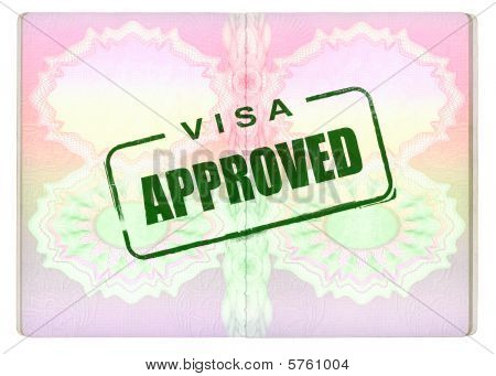 Approved Green Visa Stamp on Passport pages poster