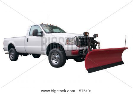 A brand new snow plow truck isolated on a white background. poster
