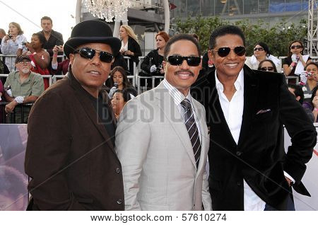 Tito Jackson with Marlon Jackson and Jackie Jackson  at the Los Angeles Premiere of 'This Is It'. Nokia Theatre, Los Angeles, CA. 10-27-09