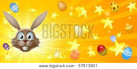 Easter Bunny And Eggs Banner