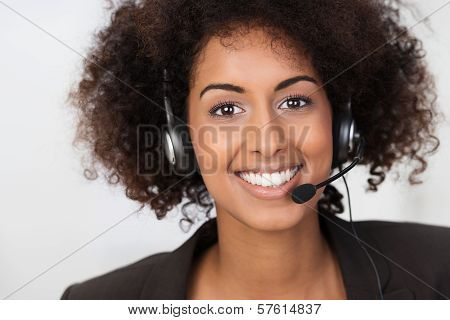 African American Businesswoman In A Headset
