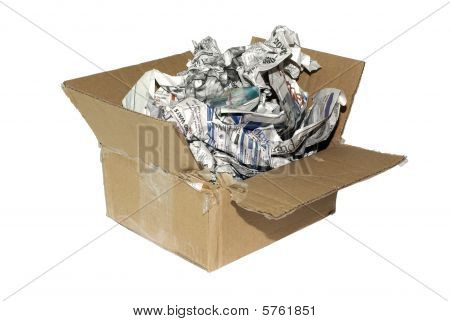 Cheap Variation Of Package For Fragile Item. Cardboard Box With Newspapers Isolated On White Backgro