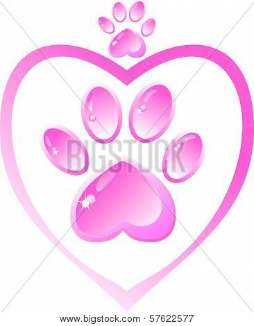 The icon - a pink paw and heart, crown