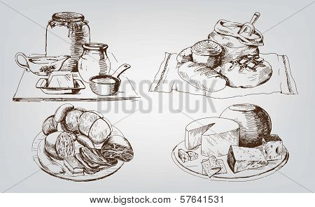 foodstuffs. set of vector sketches. This is file of EPS8 format. poster